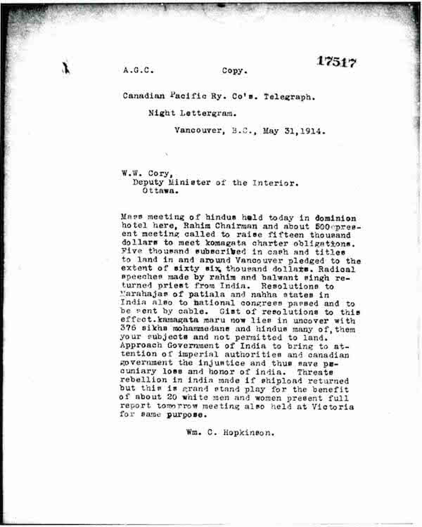 Telegram Hopkinson on Meeting