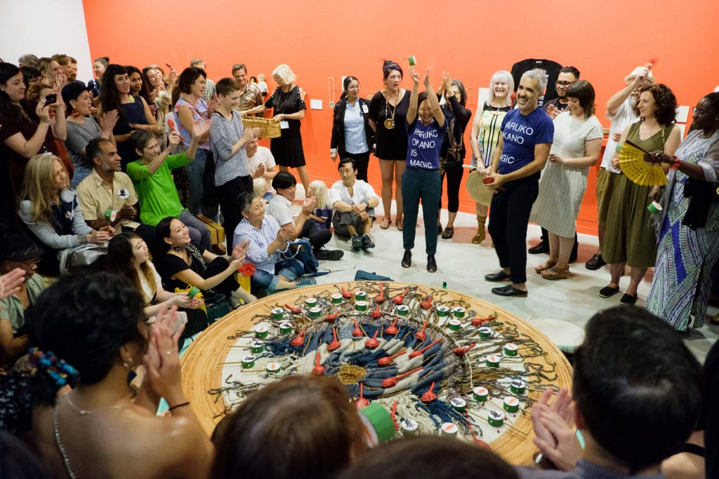 Ayumi Goto and Peter Morin: how do you carry the land? Ayumi Goto, Artist; Peter Morin, Artist; Community Opening, July 13, 2018 Photo: Pardeep Singh, Vancouver Art Gallery